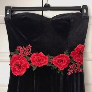 Black velvet red rose prom dress
